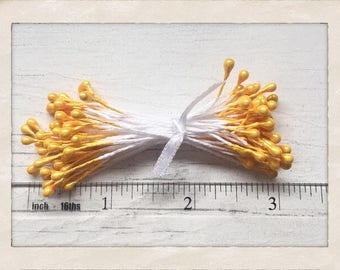 900 sunshine yellow stamens - Flower stamens - Card making - Scrapbooking - Mixed media projects