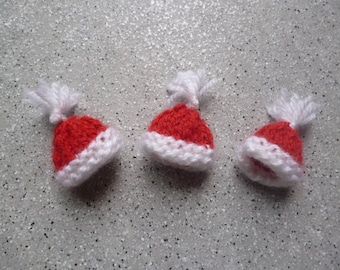 3 miniature hats knitting pattern, Christmas decoration to hang or stick tree ornament, Christmas, embellishment