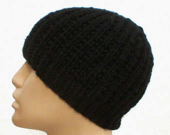 Black beanie hat, skull cap, ribbed hat, black hat, winter hat, toque, knit hat, mens womens hat, chemo cap, reversible hat, hiking hat  V7