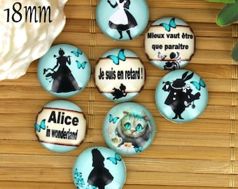 Set of 8 18mm glass cabochons, fairy tale, Alice ZC32