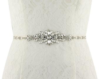 Slim Rhinestone Bridal Sash/ Embellish Sash / Wedding Sash/ Bridal Belt/ Crystal Wedding sash