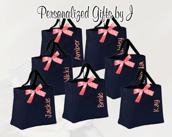 Personalized Bridesmaid Gift Bag Monogrammed Tote, Bridesmaids Tote, Personalized Tote, Christmas Gift Idea, Monogrammed Bag, Embroidery