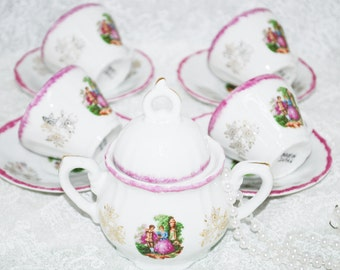 Demitasse Tea Party, Set of four Vintage Tea Cups and Saucers and a sugar bowl, Made In Japan, Instant Tea Party, Shabby Chic