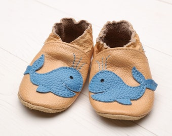 Leather baby shoes Soft sole baby shoes, Baby boy, Baby girl, Booties crib shoes, Baby slippers, Baby shower gift Infant, Beige, Blue whale