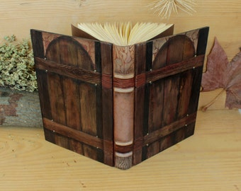"""Leather Journal, Blank Book, Hand tooled and painted decoration, """"Gate to the Soul"""", One of a Kind (2/4)"""