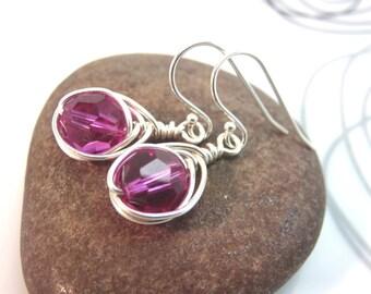 Fuchsia crystal earrings argentium sterling silver wire wrapped pink crystal earrings wire wrapped earrings