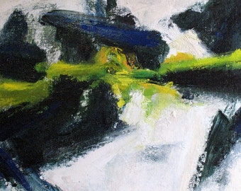 SALE! Moss ABSTRACT Painting 16 x 20 white winter dark blue acid green
