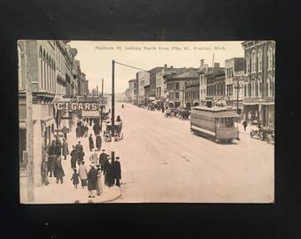 Vintage Postcard- Pontiac Michigan, Saginaw St. Looking North