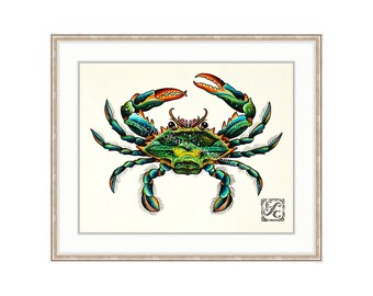 """Blue Crab 11""""x14"""" Giclee Print Of A Watercolor Painting For The Saltwater Angler Or Seafood Lover. Claws. Shellfish Print. Crabbing."""