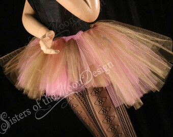Tutu skirt Adult Peek a boo mini gold pink dance bridal costume halloween roller derby bustle back - You Choose size -- Sisters of the Moon