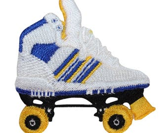 ID 1475 Roller Skate Patch Roll Rink Skating Shoe Embroidered Iron On Applique