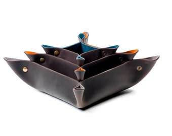 Nesting Leather Catch All Set- Leather valet- leather organizer- nesting bowls- leather gift set- Fellowings Catch All