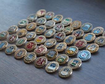 A big collection of vintage badges, a collection of old Cities. 48 pcs. set#16
