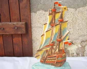 Ditmar Urbach GALLEON Wall Plaque/Free Standing Art Deco 1930s. Ceramic Hand Painted. Excellent Condition.