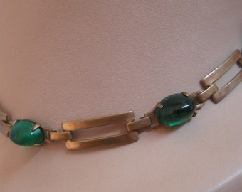 Vintage Brass Green Glass Necklace Deco look