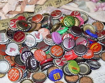 Vintage BOTTLECAPS 100 Best Price on Etsy- Soda Bottle Caps Soft Drink Caps Art Recyle Upcycle Folk Art Supply