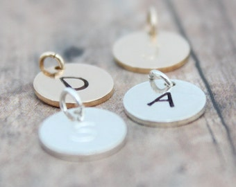 Initial Charms, Small Letter Charms, Initial Charms Sterling Silver, Rose Gold Initial Charm, Gold Initial Charms,Hand Stamped Initial Charm