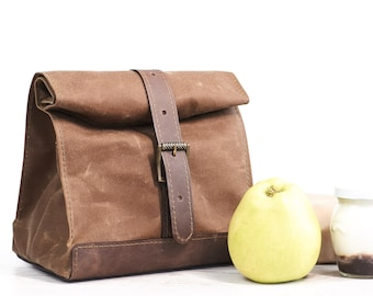 Brown lunch bag. Lunch box. School lunch bag. Waxed canvas and  leather lunch bag. Picnic lunch bag. Vintage style lunch bag.