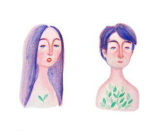 Adam and Eve - Print from original illustration