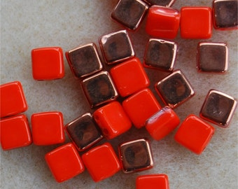 CZECH TILE Beads, 2 Hole, 6mm, Coral Apollo, 93400/27101, sold in units of 30 beads.