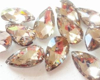 5 Metallic Gold Teardrop Chandelier Crystals 38mm Silver Coated Back