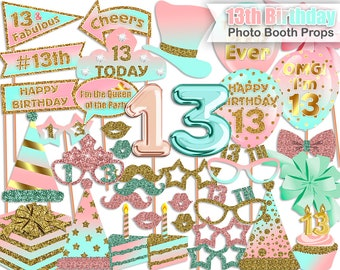 13th Birthday photo booth props, Pink, Mint, Gold, 13th Birthday Party, Birthday photo booth props, Printable, INSTANT DOWNLOAD