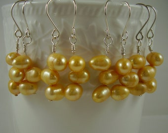Yellow Pearl Earrings - Bridesmaid Pearl Earrings - Yellow Bridesmaid Earrings - Wedding Jewelry - Gifts for Her - Bridal Jewellery - Proms
