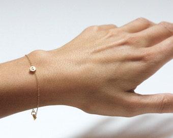 Tiny Skull Bracelet 14kt Gold Filled Bracelet with Tiny Gold Skull, Skull Jewelry, Dainty Bracelet