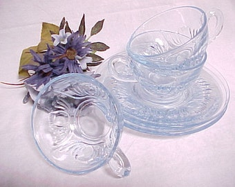 RARE Paden City Glass Maya Pattern, Ice Blue Cup and Saucer Sets  (3) 1930s Depression Glassware, Vintage Collectible Glass, Serving Coffee
