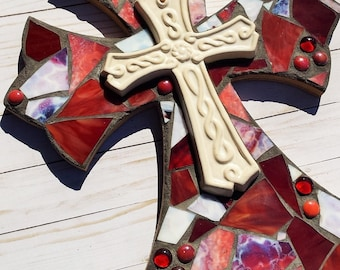 Red Mosaic Cross, Stained Glass Cross, Religious Cross, Mosaic Wall Decor, Housewarming Gift, Wedding Shower Gift, Christmas Gift