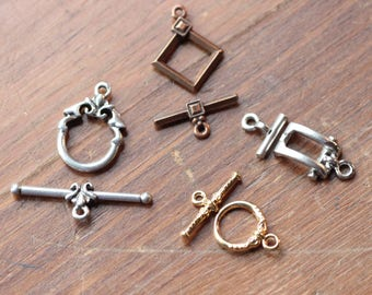 Toggle Clasp Assortment Finding Gold Copper Silver Mixed Lot Destash