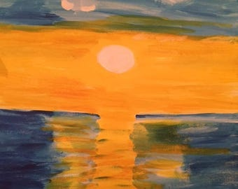 Yellow sunset on blue sky
