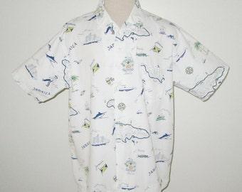 Vintage 1950s Jamaica Novelty Print Shirt Martin Tailored Shirt / 50s White Novelty Print Shirt With Jamaican Theme - Size XL