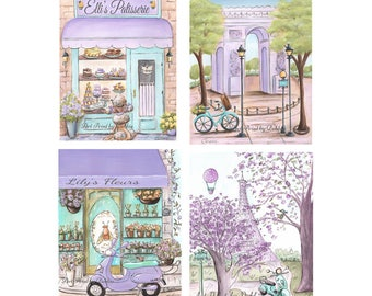 Paris Bedroom Decor, Lavender Purple Teal Paris Themed Nursery Wall Art, Personalized Patisserie & Flower Shop, Custom Girls Name Baby Gift