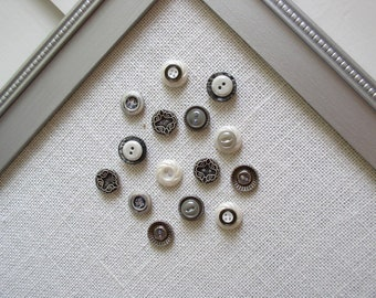 Vintage Style Button Magnets - Metallic Set of 12 Extra STRONG Magnets in Silver Gray and Neutrals - For Magnetic Memo Bulletin Boards