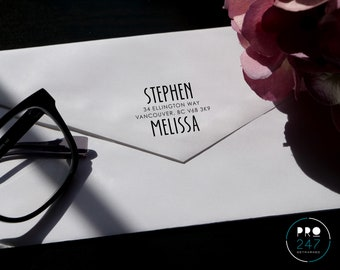 Customized Self-Inking Return Address Stamp / Wood-mount Rubber Stamp / Clear Acrylic Block (RS0005)