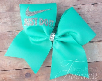 Cheer Bow - Aqua cheer bow - cheerleading bows - dance bow - softball bow - gifts for cheerleaders- gifts under 10 dollars - christmas gift