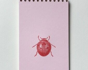 Ladybug Notebook - Letterpress Spiral Bound Notebook