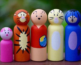 Winnie the Pooh Peg Doll Set, Winnie the Pooh Toy, Tigger Peg Doll Toy, Piglet Peg Doll Toy, Rabbit Peg Doll Toy, Eor Peg Doll Toy,