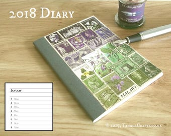 2018 Diary, Purple Green Month Planner Notebook A6 | Eco Friendly New Year Gift, Recycled Art Collage, Flower Lover Gift, Floral Lavender