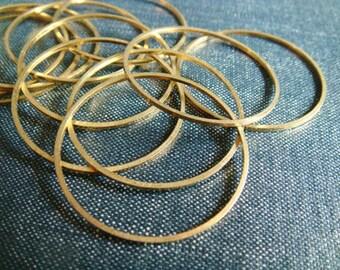 Simple Circles 35mm - Raw Brass - 24pcs - Raw Brass Hoops, Brass Circle Connectors, Brass Rings, Raw Brass Circle, Round Brass Hoop