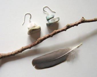 Rock Earrings - natural, gray and white, stone earrings, bohemian, earthy earrings, organic, natural, drop earrings, modern, boho, eco, ooak