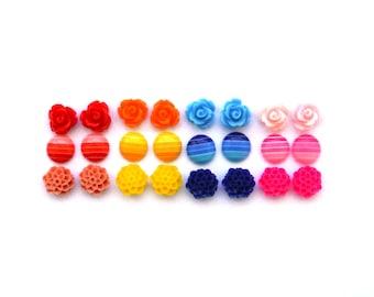 Flower Stud Sets | Rose Studs | Flower Earrings | Ombre Earrings | Earring Set | Stud Set