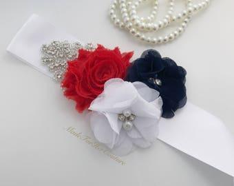 4th of July Bridal Sash, 4th of July Flower girl Sash, 4th of July bridesmaid sash, 4th of july flower girl belt, 4th of july Wedding Sash,