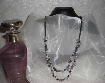 Necklace 2 rows of pearls Hematite ships purple tube
