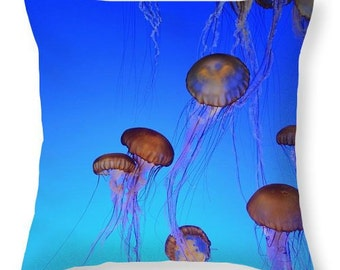 Jellyfish Photo Throw Pillow, Sea Nettle Jellyfish Pillow,  Home  Decor Pillow, Washable, 14 x 14 Pillow