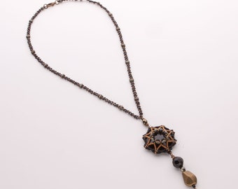 Black and Bronze Necklace with Beaded Star Pendant of Swarovski Crystal Cabochon, Brass and Black Facet Beads. Gothic Style Necklace S84