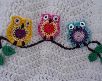 Crochet little owl applique PATTERN