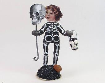 READY TO SHIP Spun Cotton Vintage Style Halloween Skeleton Child Figure