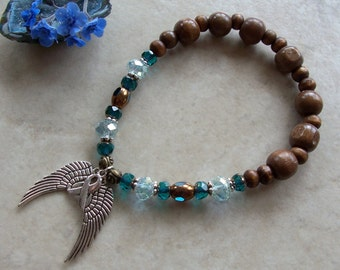 Teal Awareness Recovery Survivor Angel Wings Stretchy Bracelet Czech Glass Crystal Pewter Wood Beads Ovarian Cervical Uterine Cancer